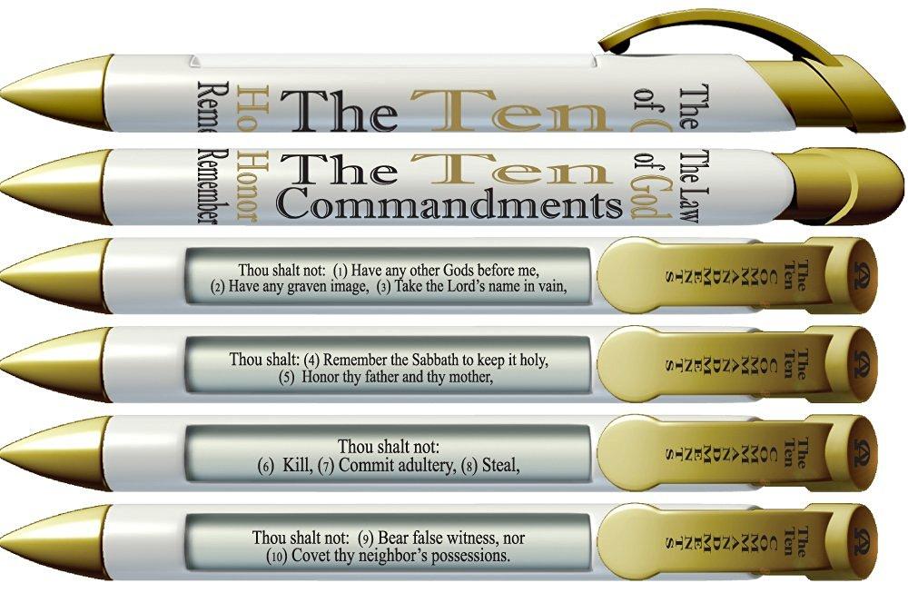 """Greeting Pen """"10 Commandments"""" Scripture Pens, Scripture Verses with Rotating Messages, 6 Pen Set (36030)"""