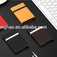 RFID aluminum PU leather credit card holder