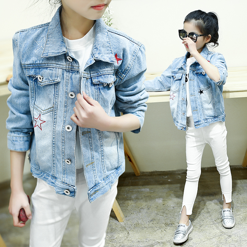 46653ba38 New 2019 Star Printed Girl Clothes Spring Autumn Elastic Jeans Children Casual  Clothing Kids Girls Denim Cardigan Jackets-in Jackets & Coats from Mother  ...