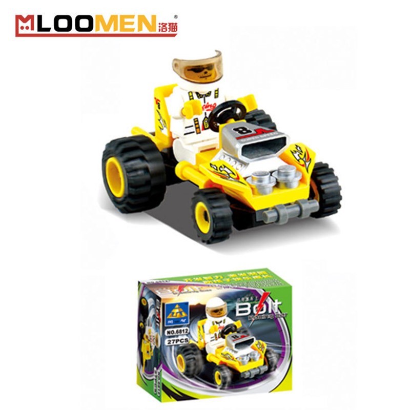 Kids Birthday Gifts 27pcs set DIY Small Particles Building Blocks Racing Car Action Figure Kids Educational