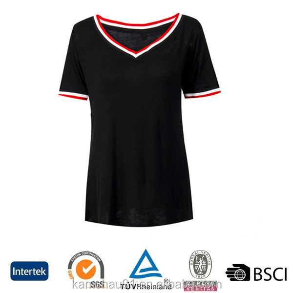 OEM custom screen printed design short sleeved v neck fitted women black gym tshirt manufacturer