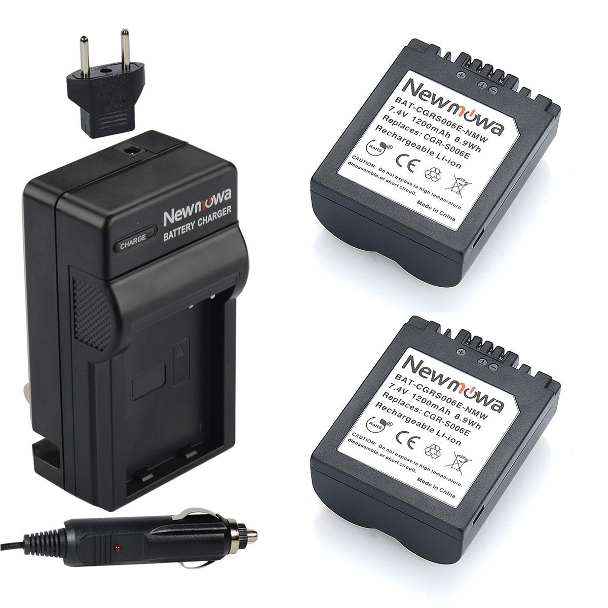 Newmowa S006 Battery (2-Pack) and Charger kit for Panasonic CGR-S006 CGR-S006E CGR-S006A/1B Equivalent Panasonic Battery and for LUMIX Digital Camera DMC-FZ50 DMC-FZ30K DMC-FZ30 FZ45 DMC-FZ7K DMC-FZ7S models