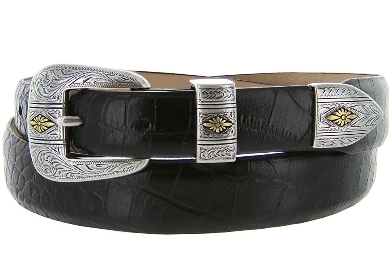 Mesa Gold - Men's Italian Calfskin Designer Dress Golf Belt with Western Silver Plated Buckle Set (32 Alligator Black)