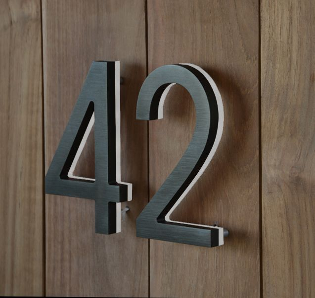 3D LED Backlit Brushed Stainless Steel Letter Shell and 20mm Thickness Acrylic Back-Panel/house number