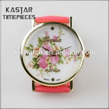 Water resistant ladies quartz watch, flower on the dial letaher women watch band