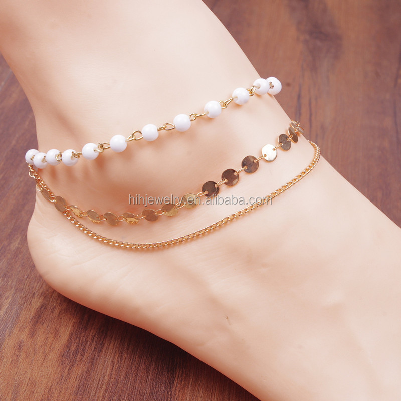 Wholesale jewelry fancy new design white turquoise natural stone gold plate anklet designs