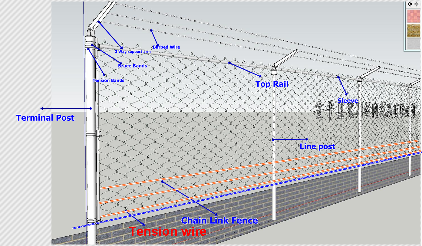 8'H PVC coated Chain Link Fence
