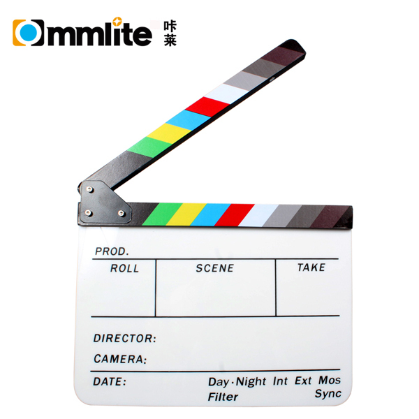 "Acrylic Plastic TV Movie Video Film Clapperboard Director Clapboard 9.85 x 11.8"" with Color Sticks"