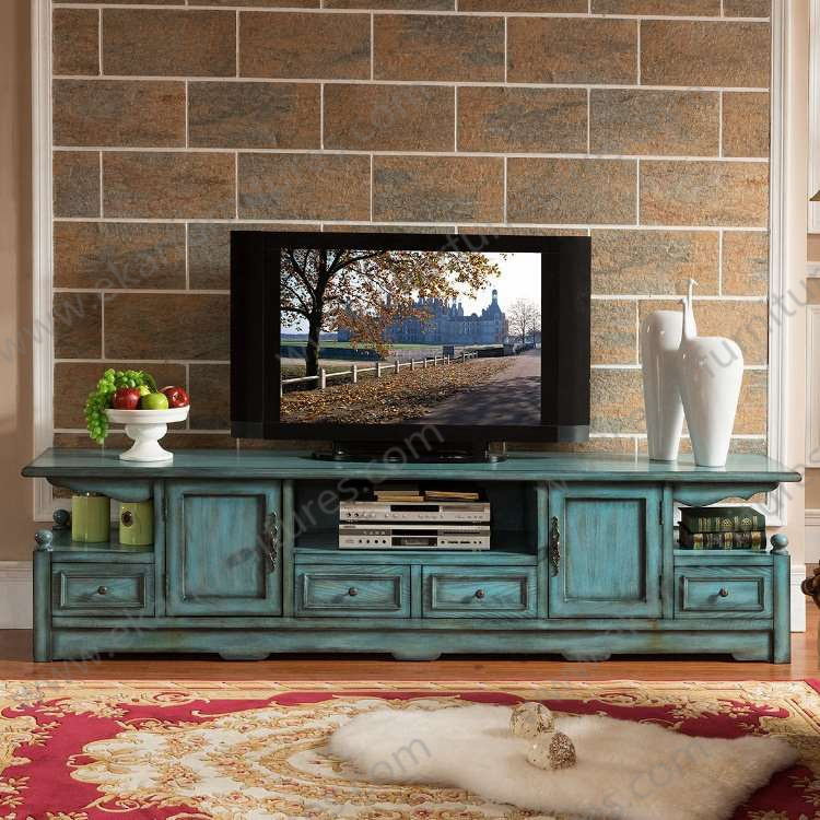 Alibaba Old Style Vintage Long Seafoam Green Tv Stand