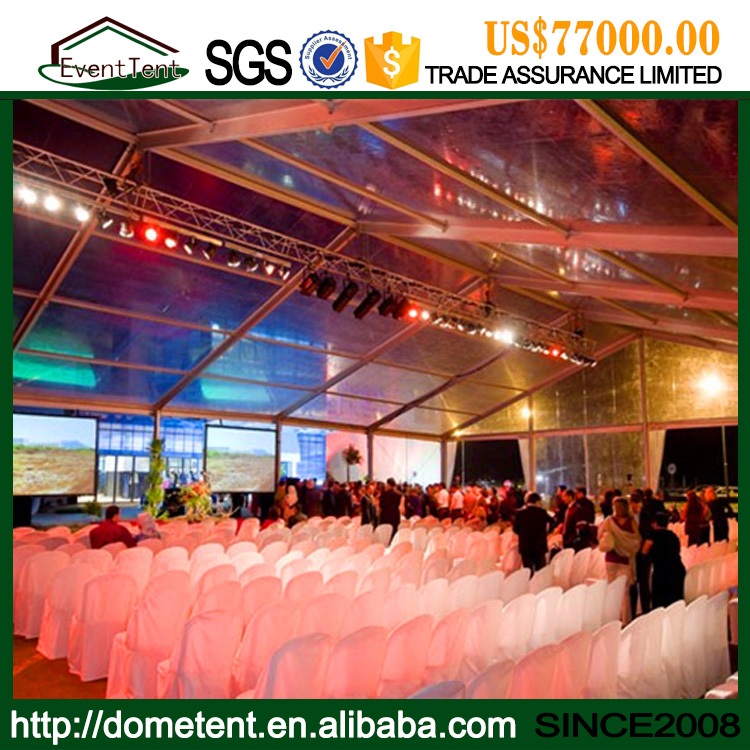 20x20m clear tent with transparent roof cover and sidewalls for 500 seats outdoor wedding party events