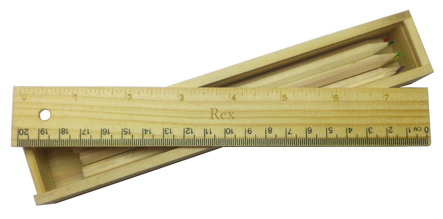 Coloured pencil set with engraved wooden ruler with name Rex (first name/surname/nickname)