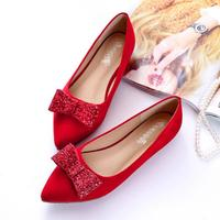 LM3584Q european women flat single shoes pointed big size wedding shoes women bow dress shoes