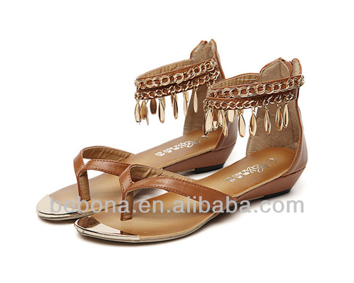 Thong ladies leather cork sandals