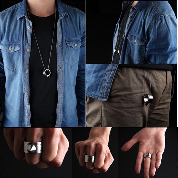 - Самооборона кольцо шокер оружие продукт выживания кольцо инструмент карманный женщин самообороны кольцо из нержавеющей стали шип + цепочки