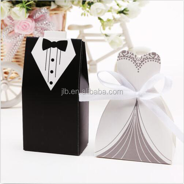 Wedding Dress and Black Christmas Favour Boxes Bride and Groom Gift Packaging