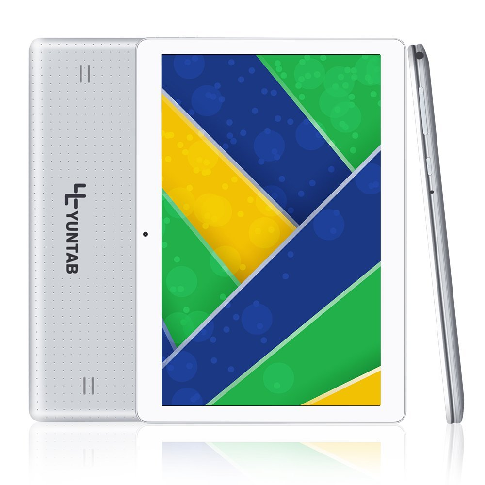 Yuntab 10.1 inch Tablet Android 5.1 WiFi Unlocked 3G Phone Tablet PC 1GB+16GB MTK 6580 Quad-Core IPS Screen 1280x800 Dual Camera Cell Phone Support 2G 3G WiFi Dual SIM Card Slots (Silver)