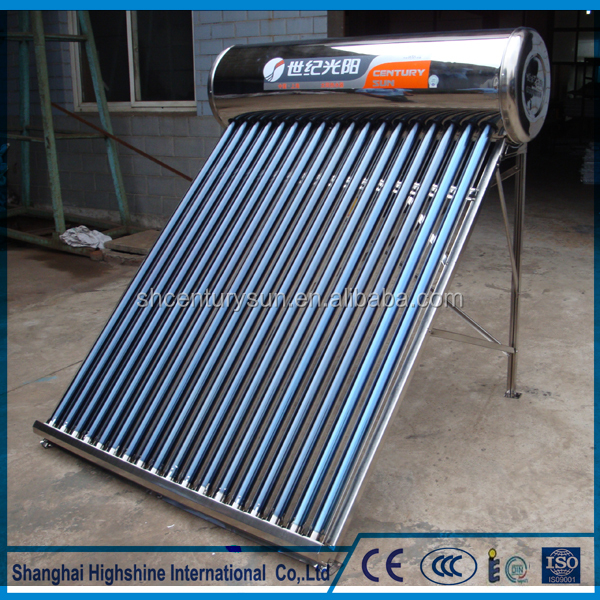 Non-pressure Vacuum Tube Stainless Steel Low Pressure integrated Solar Water Heating system for domestic using
