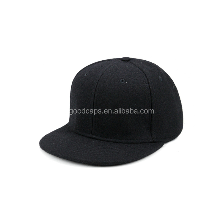 customized wool baseball caps and hats high quality 6 panel flat brim snapback cap outdoor sport hat