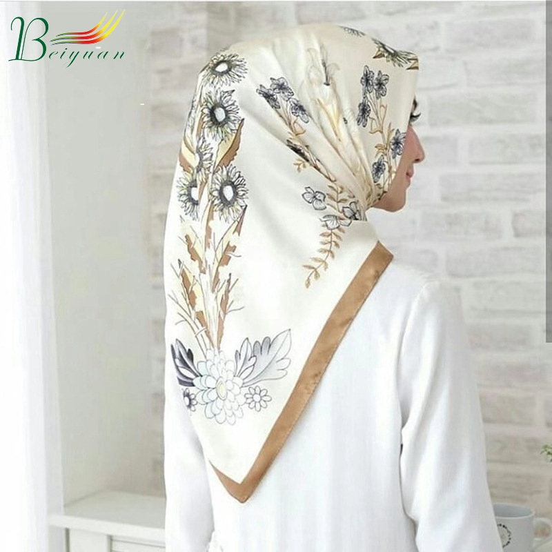Hot Style Spring Print Fashionable New Women'S Hijab For Muslim Women Plain Square Scarf