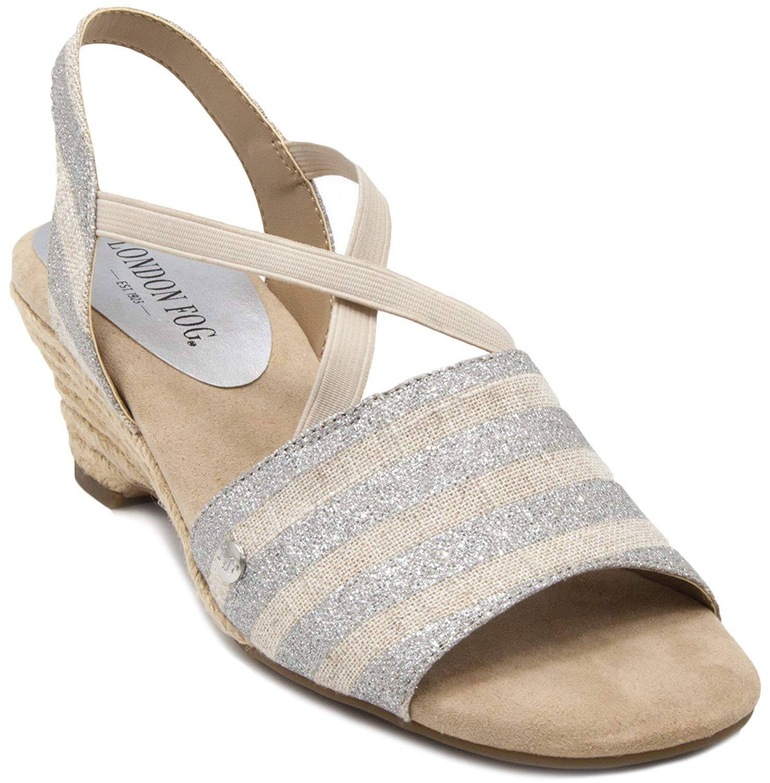 b54f1346b Get Quotations · London Fog Womens Kirby Open Toe Espadrille Wedge Sandals