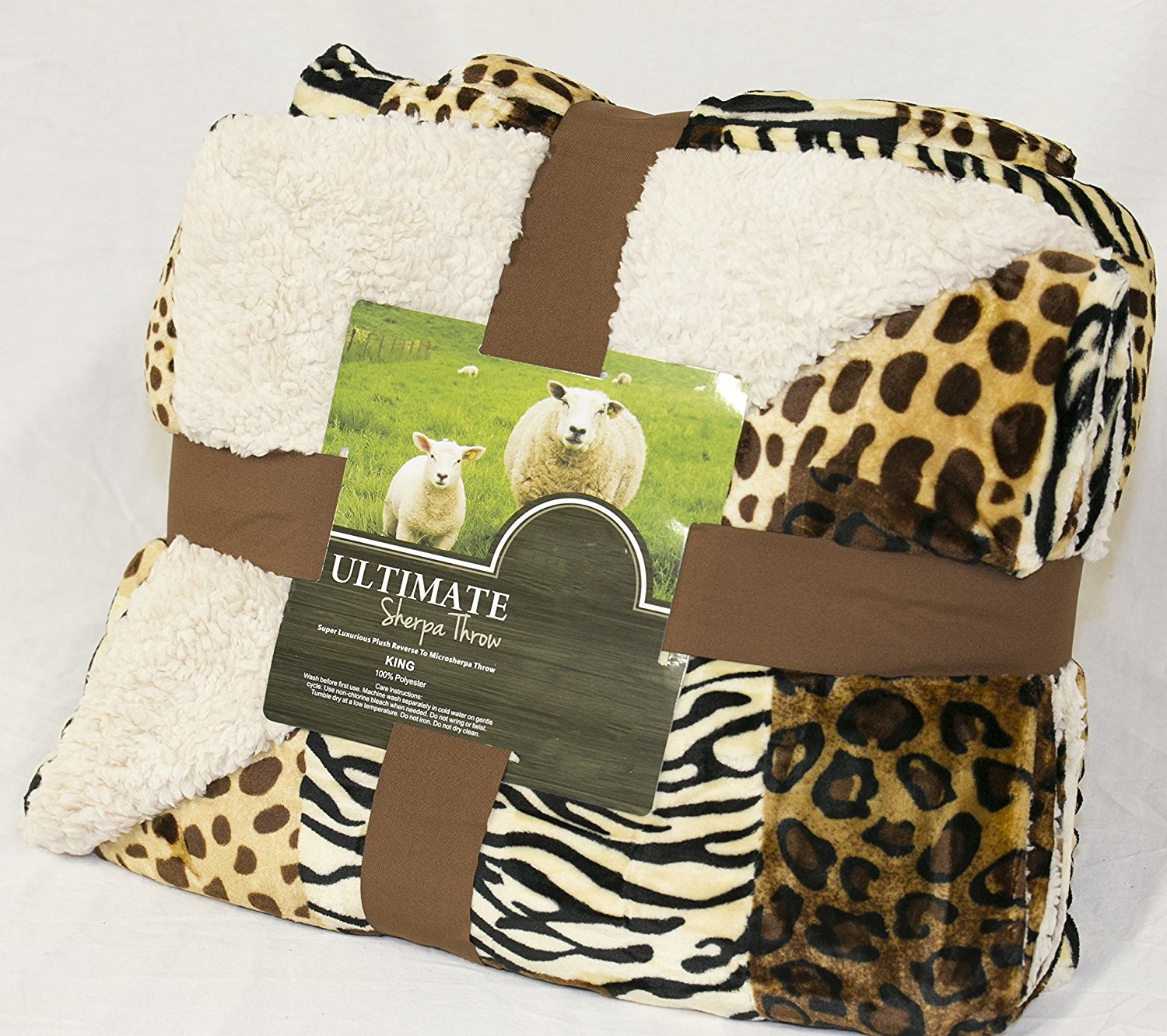 Fancy Collection Queen/king Size Print Blanket Sumptuously Soft Plush Solid Coffee/Brown with Sherpa Reversible Winter Blankets Bedspread Super Soft New (Safari)
