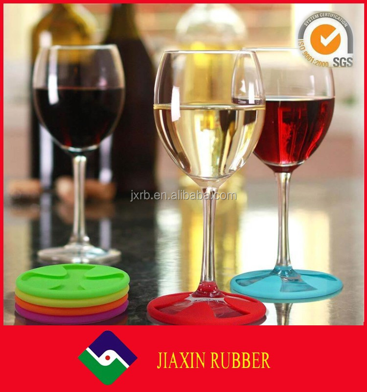 8cm Colorful silicone rubber wine glass coasters cheap stemware holders