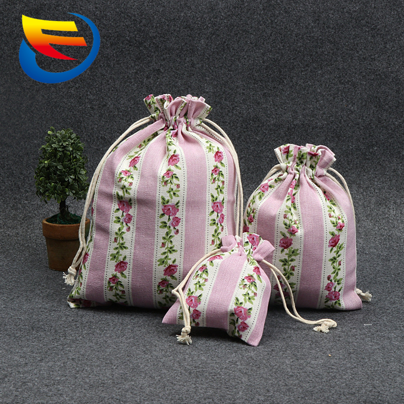 Private Label String Canvas Custom Drawstring Cotton Bag Flower Printing Cotton Tote Drawstring Bag