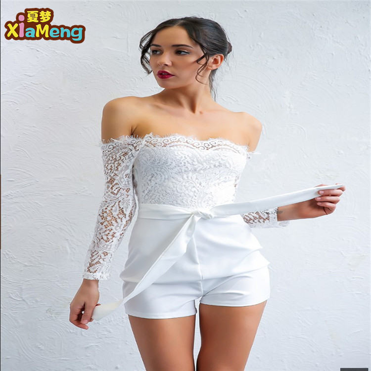 2018 summer boat neck western style long sleeve lace jumpsuit фото