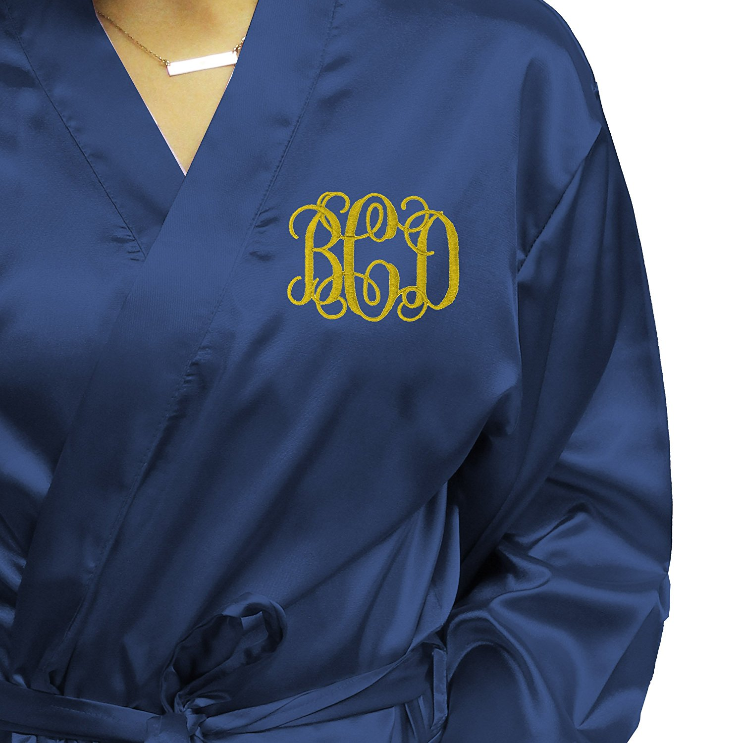3ec832b0c8 Get Quotations · Monogrammed Satin Bridesmaid Kimono Robe Gift - Wedding  Bridal Party Robes - Women s Bathrobe - Custom
