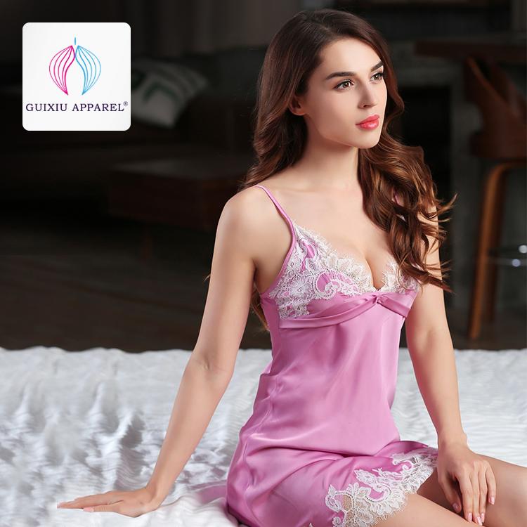 satin Light Purple lace babydoll chemise nightwear sleepwear night dress