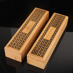 Bamboo Incense Burner Incense Stick Holder With Drawer Joss-stick Box Hollow Aromatherapy Zen Lying Censer Home Office Teahouse