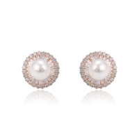 95657 Xuping delicate ladies jewelry simple design imitation pearl charm earrings