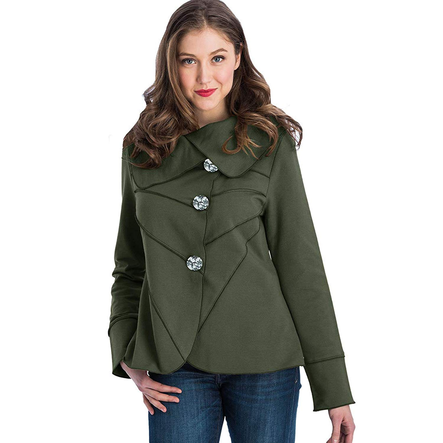 Neon Buddha Womens Lightweight Cotton Jacket Female Casual Trench Coat with Oversized Notched Collar and Toggle