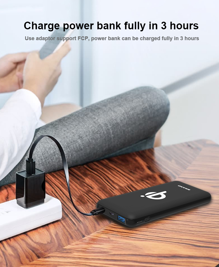 ROHS CE FCC QC Qi Quick Wireless Fast Charging 10000mAh Charger Power Bank