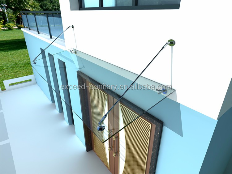 Glass Awning With Stainless Steel Support Bar Buy Glass
