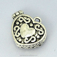 Alloy Heart Shaped Prayer Box Charms, Wish Box, Antique Silver Color(PALLOY-B710-AS