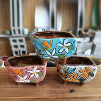 Korean style hand painting flower antique ceramic indoor plant pots with feet