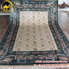 2x3m Blue white hand knotted wool and silk rugs