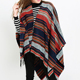 New Women's colorized striped woll kashmere feel double sided bifurcated shawl cape scarf