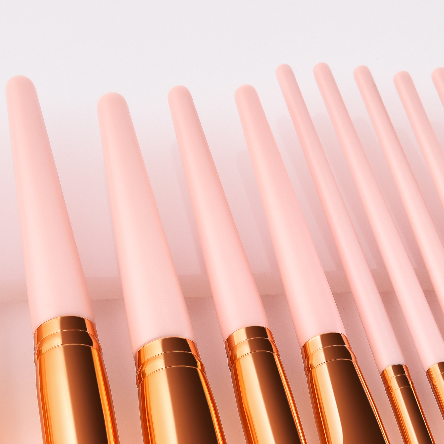 High Quality 15pcs Rose Gold Pink Wood Handle Vegan Synthetic Hair Cosmetic Brush Custom Logo Makeup Brushes