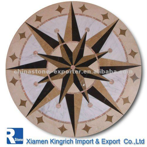 water jet marble medallion polished compass