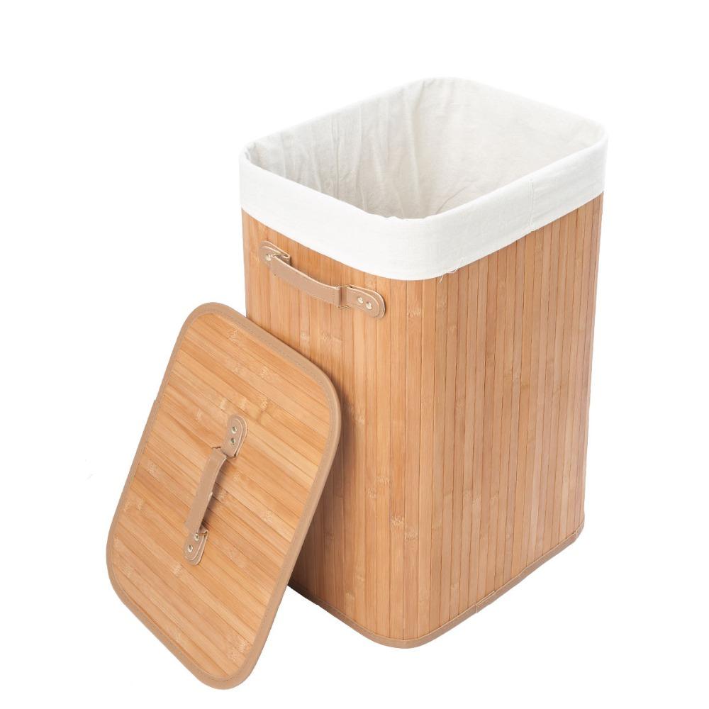 Beb de bamb natural de ca a de rat n cesta de lavadero - Cesta ropa sucia ...