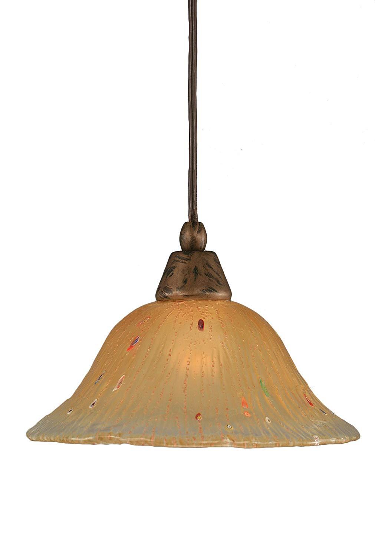 Toltec Lighting 25-BRZ-750 Multi Light Mini-Pendant Bronze Finish with Amber Crystal Glass Shade 7-Inch