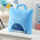 Plush Cheap Travel Blanket 2 in 1 Foldable Coral Fleece Polyester Pillow Blanket