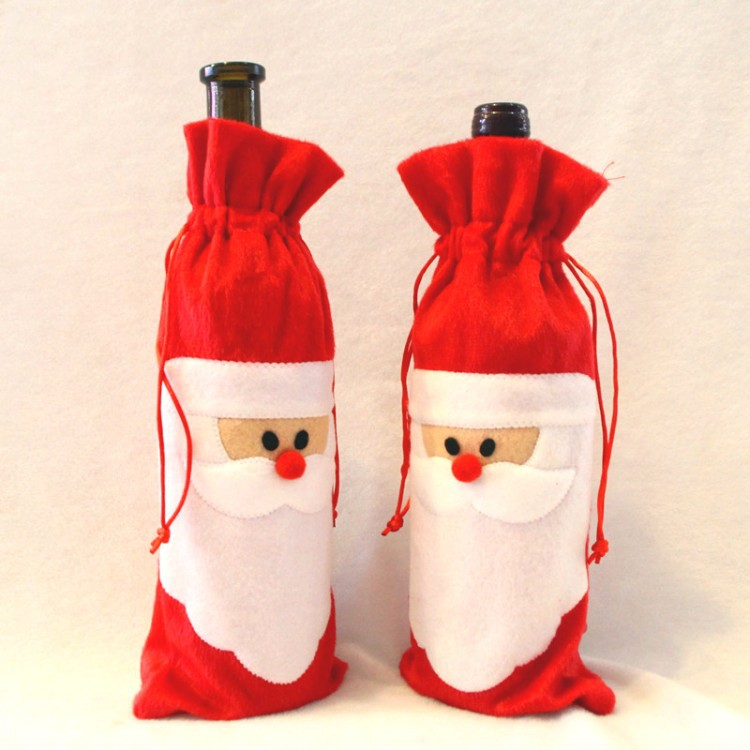 Red Wine Champagne Bottle Cover Bags Christmas Dinner Table Decoration Home Party Decors Santa Claus Christmas