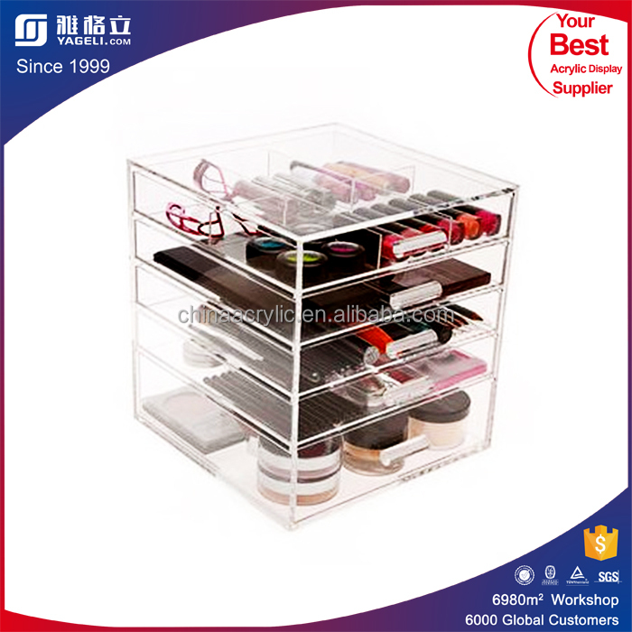 High end market cosmetic display 6 drawer acrylic makeup organizer