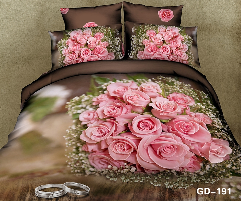 Wedding Day 3d Bet set with Rings and Pink Rose Bouquet