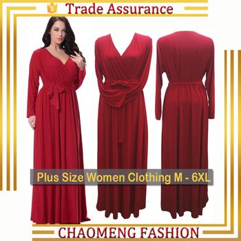 df942458c446 6008# Red One Piece Maxi Evening Dress Long Sleeve Latest Dress Designs  Photos Plus Size