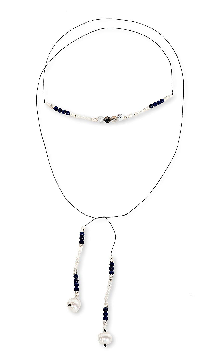 Handmade Leather Choker Necklace with Aquamarine Beads, Lapis, Freshwater Pearls, Sterling Silver Beads | Marina by Maya Fasthoff
