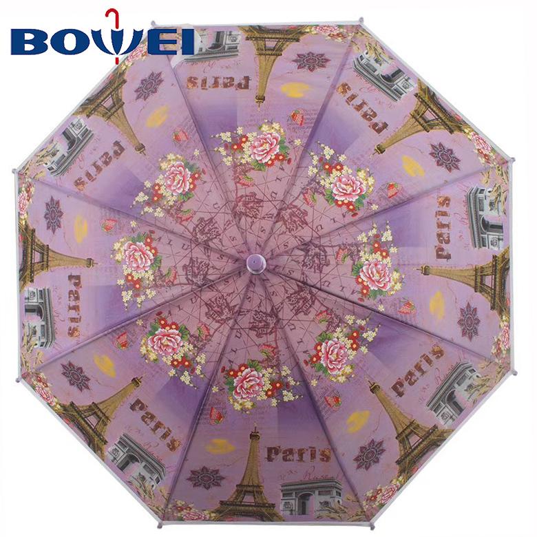 Promotional creative print POE rainproof umbrella for children